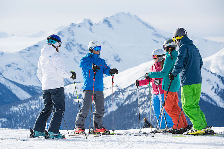 A family private ski lesson on Whistler Blackcomb.