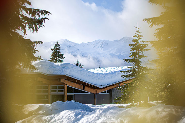 A shot of the Day Lodge at Whistler Olympic Park in the winter.