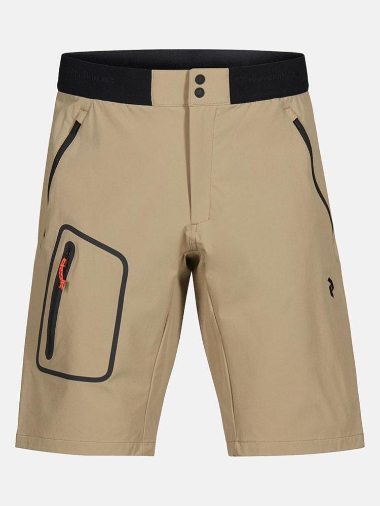 Men's light softshell shorts at Peak Performance in Whistler.