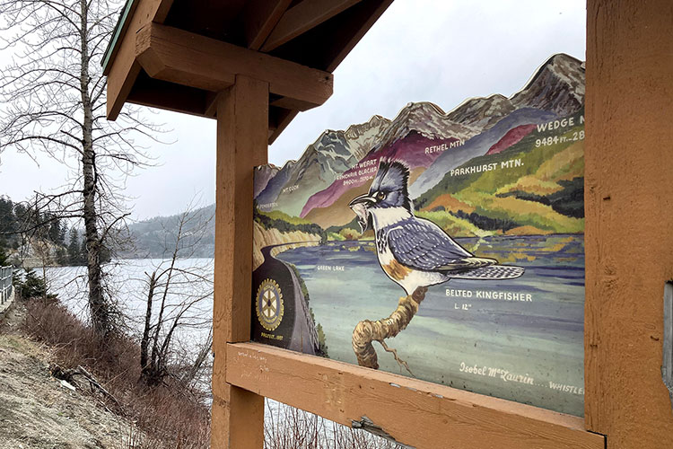 The information board at the Green Lake lookout giving you the names of the surrounding mountains.