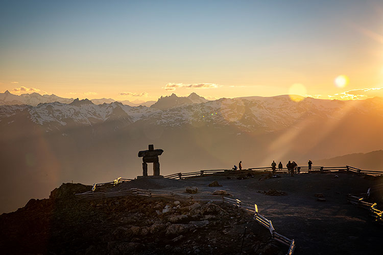 The view from Whistler Blackcomb at sunset.