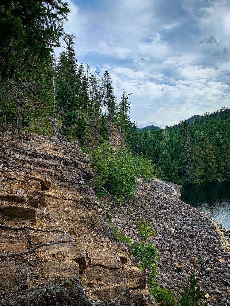Volcanic rock surrounds Loggers Lake in Whistler.