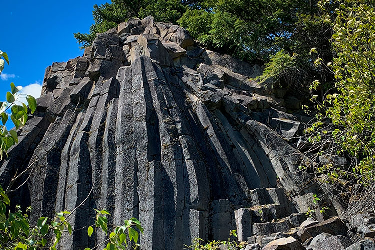 Volcanic basalt columns at Sugarcube Hill in Whistler