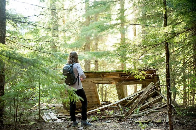 A woman looks at the remnants of an old cabin at Parkhurst in Whistler.