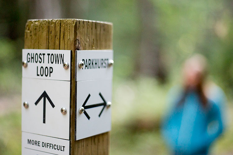 The sign post for the Ghost Town Loop on the Parkhurst hike.