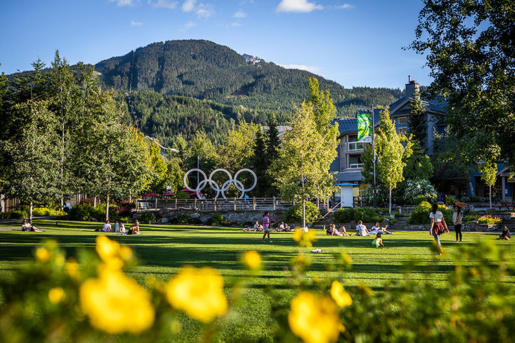 Whistler Olympic Plaza in summer.