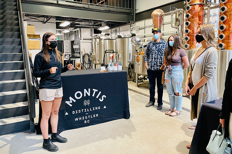 The tour begins at Montis Distilling in Whistler.