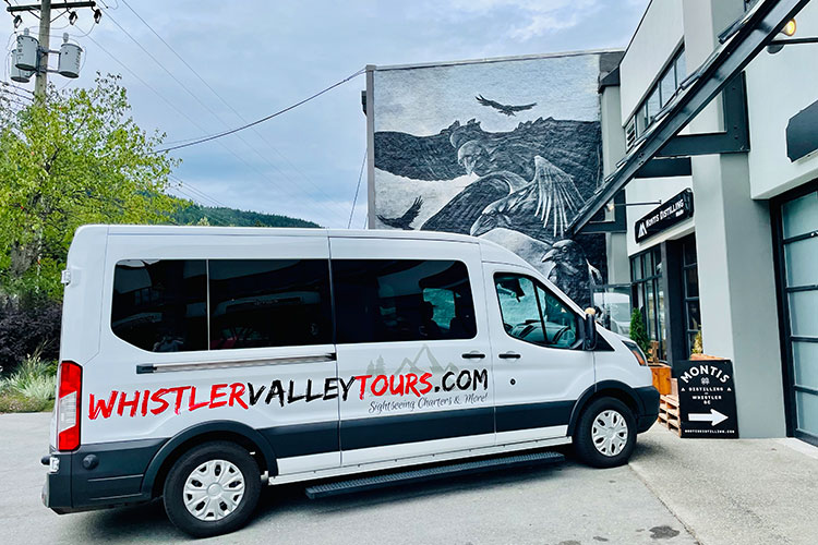 The Whistler Valley Tours van pulled up outside Montis Distilling in Function Junction, Whistler.