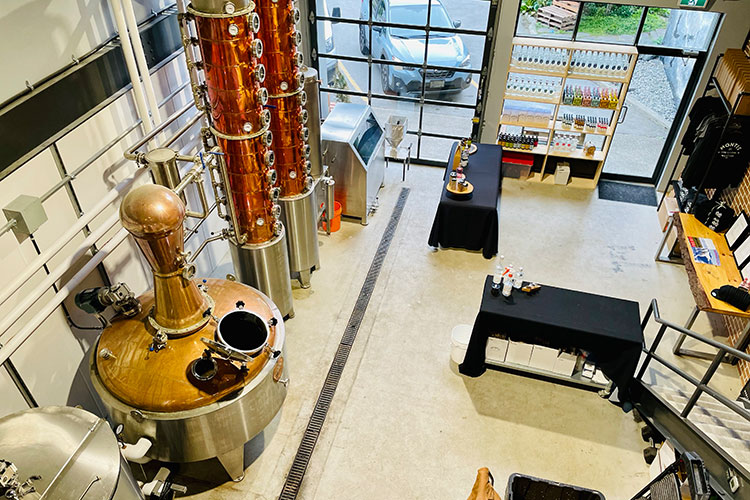 A birds-eye view of the equipment setup at Montis Distilling.