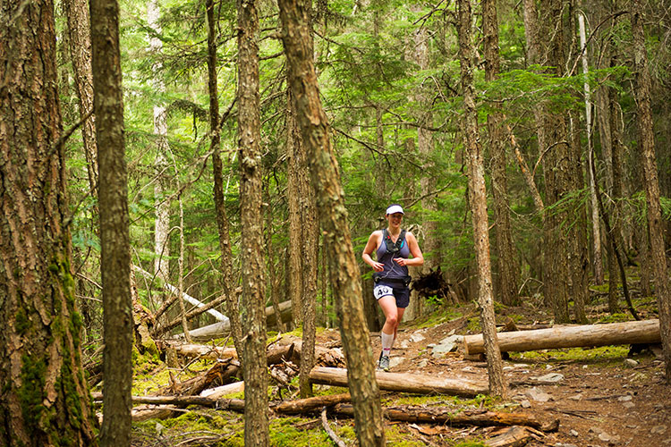 A runner heads through the forests in the Comfortably Numb race in Whistler.