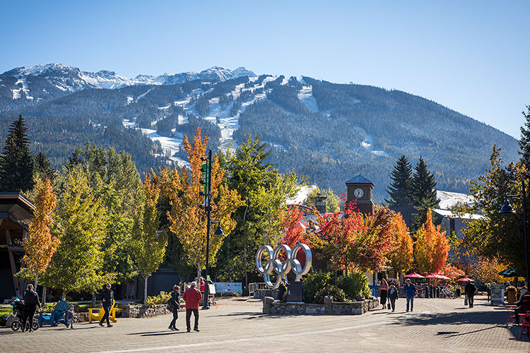 Whistler Village in the fall - the view along the Village Stroll.