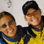 Miranda and Elise, owners of Peak Performance clothing store Whistler, back when they were ski instructors at Whistler Blackcomb.