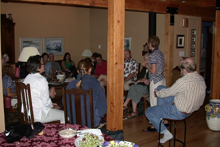 A group of writers meet at the first Whistler Writers Festival in Stella Harvey's living room.