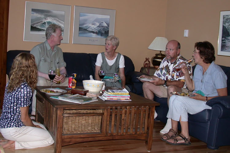 A group of writers talk in a living room at the first Whistler Writers Festival.