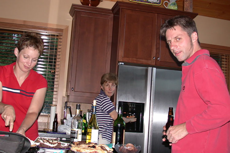 A group of writers meet in the kitchen at Stella's house at the first Whistler Writers Festival.