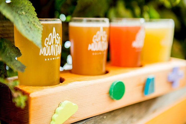A flight of craft beers at Coast Mountain Brewing in Whistler.
