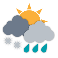 Cloudy with sunny periods and isolated wet flurries.