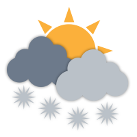 Cloudy with sunny periods and isolated flurries.