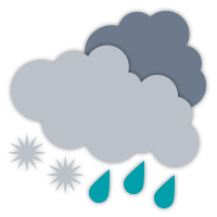Mainly cloudy with isolated wet flurries.