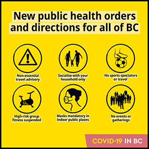 New Public Health Orders and Directions for all of BC