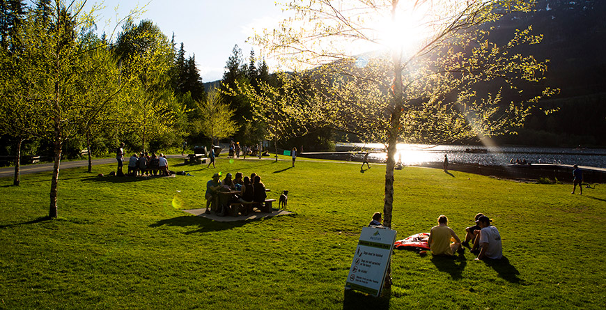 People at a lakeside park in Whistler