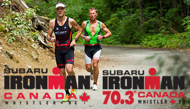 A man running along the valley trail in the final leg of Ironman Canada.