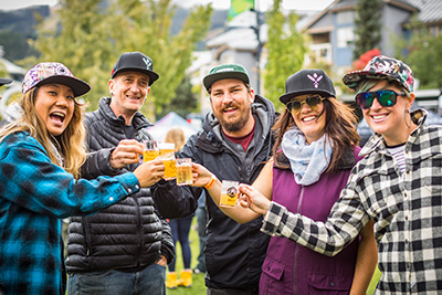 Whistler Olympic Plaza is transformed with tents and people during the Whistler Village Beer Festival.