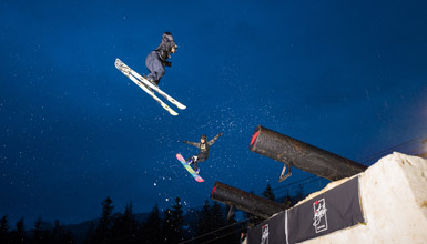 A skier gets big air at Whistler's World Ski and Snowboard Festival