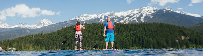 Paddling on Alta Lake in Whistler, BC