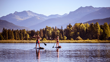 Paddleboarding on Alta Lake in Whistler BC