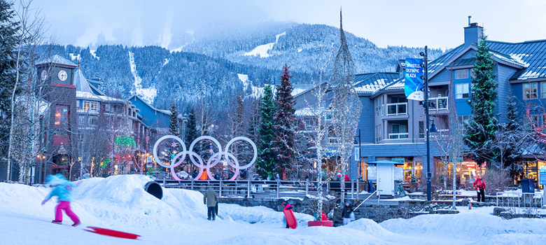 Playing in the Snow Zone at Whistler Olympic Plaza in Whistler, BC