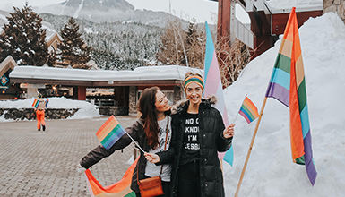 Two women at the Whistler Pride and Ski Festival