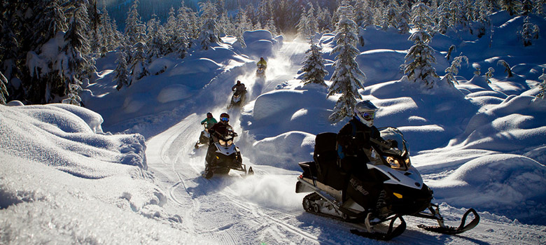 Backcountry snowmobiling in Whistler, BC
