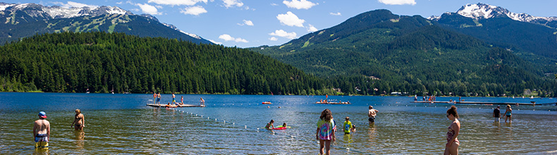 The beach at Rainbow Park on Alta Lake in Whistler, BC