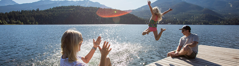 Family enjoying the lake in Whistler BC