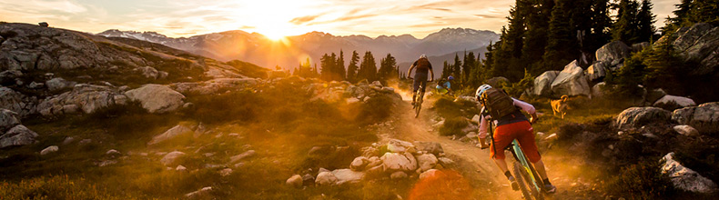 Two people cross-country mountain biking in Whistler