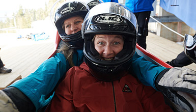 Women doing the Bobsleigh Experience at Whistler Sliding Centre