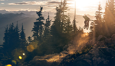 Riding the Top of the World trail on Whistler Mountain