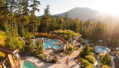 Enjoying the Scandinave Spa in Whistler