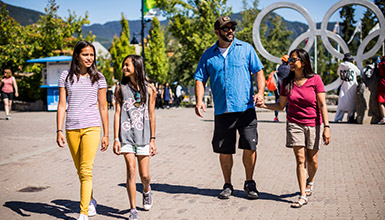 Family shopping in Whistler Village