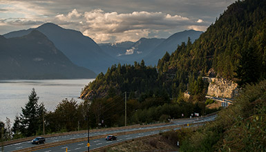Cars on the Sea to Sky Highway to Whistler