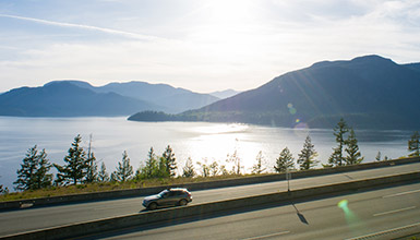 Car on the Sea to Sky Highway