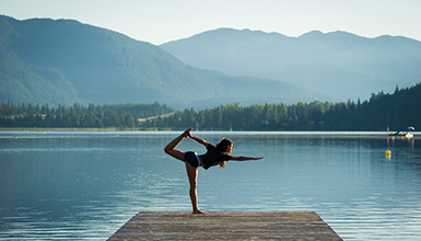 Doing yoga on the dock in Whistler