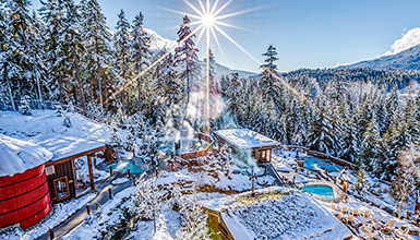 The Scandinave Spa in Whistler in winter