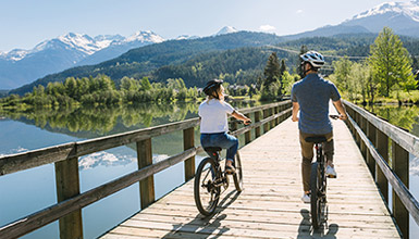 Biking on the Valley Trail at Green Lake in Whistler