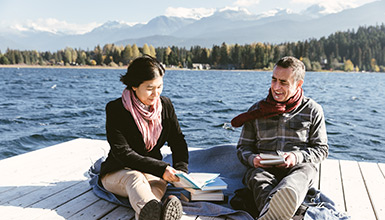 Participants at Alta Lake for the Whistler Writers Festival in Whistler BC