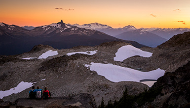 Taking in an incredible sunset in the high alpine in Whistler