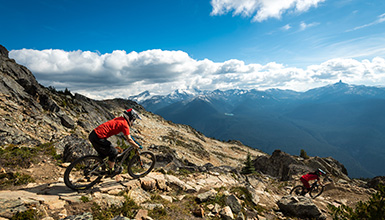 Top of the World bike trail on Whistler Mountain