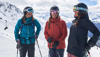 Three women skiing at Whistler Blackcomb in Whistler BC