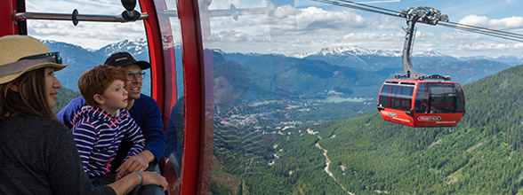 Riding the PEAK 2 PEAK Gondola, accessible from Whistler Village